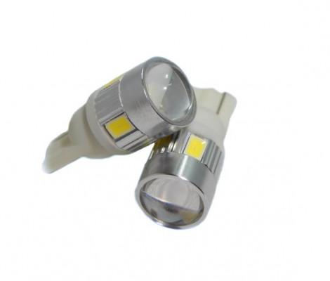Лампа светодиодная PREMIUM DXL (W5W) T10-6 SMD(5630)+Линза 5000К 9-32V