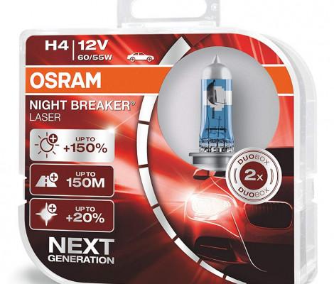 Галогеновые лампы Osram H4 Night Breaker Laser Next Generation - 64193NL-HCB (пласт. бокс)