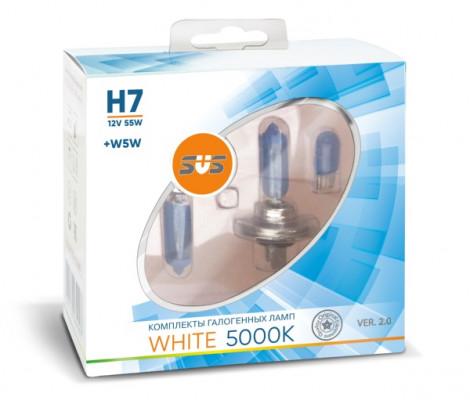 Галогеновые лампы SVS White 5000K H7 55W+W5W