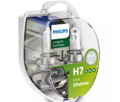 Лампа галогенная PHILIPS H7 LongLife EcoVision