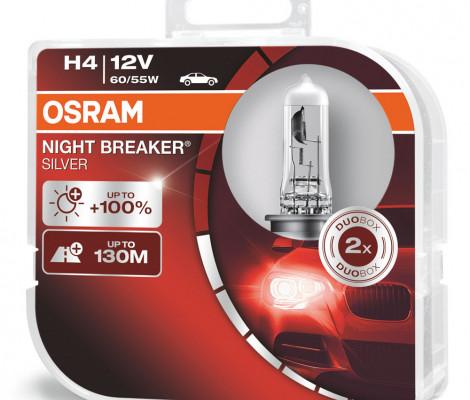 Галогеновые лампы Osram H4 Night Breaker Silver - 64193NBS-HCB (пласт. бокс)