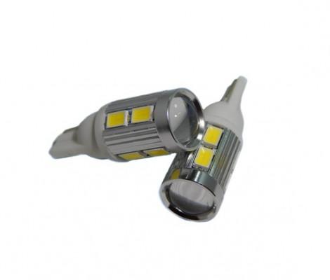 Лампа светодиодная PREMIUM DXL (W5W) T10-10 SMD(5630)+Линза 5000К 9-32V